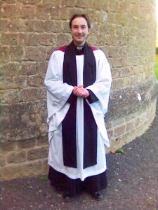 Old picture of the author wearing Anglican choir habit.